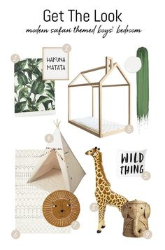 """Looking for ideas of how to decorate and design a safari jungle theme bedroom interior for boys? We have inspiring ideas and examples! Take a peek at the """"Get the look"""" list and find out where to buy trendy safari inspired kids' bedroom accessories. Boys Jungle Bedroom, Safari Theme Bedroom, Safari Kids Rooms, Jungle Theme Rooms, Boy Toddler Bedroom, Big Boy Bedrooms, Boy Room, Room Kids, Jungle Room"""
