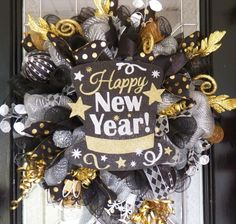 New Year's Wreath, New Year's Eve Party Decoration, Front door Wreaths, Deco Mesh Wreath, Door Hanger, Happy New Year by OccasionsBoutique on Etsy https://www.etsy.com/listing/259257952/new-years-wreath-new-years-eve-party