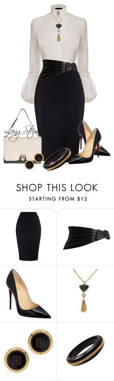 """7/29/14"" by longstem ❤ liked on Polyvore featuring moda, Alexander McQueen, Alaïa, Christian Louboutin, Barse, Susan Caplan Vintage e Elizabeth Locke"