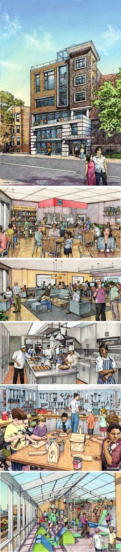 Third Space.  Community Center concept. Chicago.  Renderings and design by Bruce Bondy, Bondy Studio.