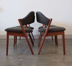 danish modern RESTORED SET / 4 TEAK DINING CHAIRS mid century eames era