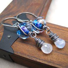 Lampwork  Moonstone Earrings Sterling Silver by loriyab on Etsy, $62.00