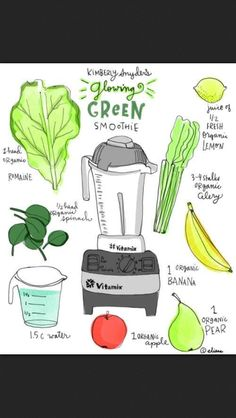 I've been drinking this everymorning for 2 weeks and already a difference in my skin, my energy, and my belly.  Kim Snyder's glowing green smoothie