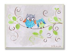 Amazon.com : The Kids Room By Stupell Rectangle Wall Decor, Blue Polka Dot Owls Designer Prints And Wall Art For Kids Room : Nursery Wall Decor : Baby