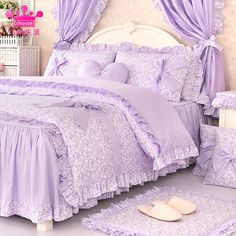 Cheap bedding set, Buy Quality floral bedding sets directly from China comforter cover Suppliers: Romantic purple floral bedding set,girls twin full queen king cotton ruffle bedclothes bedskirt pillow case comforter cover Comforter Cover, Queen Comforter Sets, Bedding Sets, Floral Bedding, Ruffle Bedding, Bedclothes, Kid Beds, Luxurious Bedrooms, Bed Covers