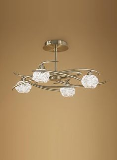 Semi plafón cuero 4 luces MAREMAGNUM - La Casa de la Lámpara