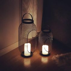 Lighting is one of my favourite ways to change the mood in a space. Candle holders work as beautiful decor for any space. They can take a bright open room to a calm intimate space in the evening. Ikea Lanterns, Lanterns Decor, Candle Lanterns, Floor Candle Holders, Lantern Candle Holders, Ikea Fans, Black Candles, Decoration, Wooden Basket