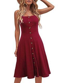b3f99a7a1bb Berydress Women s Casual Beach Summer Dresses Solid Cotton Flattering  A-Line Spaghetti Strap Button Down Midi Sundress