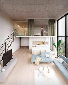 Describe this home in ONE word! This apartment concept displays a loft style approach where the chosen materials have a contrasting finish between pure and raw. Loft House Design, Tiny House Loft, Loft Interior Design, Small House Design, Home Room Design, Interior Decorating, 3d Home Design, Minimalist House Design, Modern Design