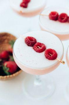 Strawberry Clover Club -2 oz gin 3/4 oz strawberry-raspberry syrup -3/4 oz lemon