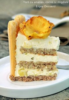 Coconut Pineapple Cake, Romanian Desserts, Beautiful Cakes, Yummy Cakes, No Bake Cake, Vanilla Cake, Great Recipes, Cake Recipes, Bacon