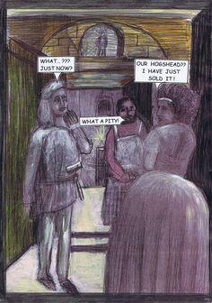 """14 - Eigentlich hat Peronellas Ehemann das Fass schon einem Arbeitskollegen versprochen. Doch die schlaue Peronella hat zufälliger weise bereits einen """"Käufer"""" gefunden, der zwei Gulden mehr bezahlt."""
