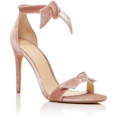 Alexandre Birman Clarita Velvet Sandals ($695) ❤ liked on Polyvore featuring shoes, sandals, heels, zapatos, light pink, alexandre birman, heeled sandals, light pink shoes, tie shoes and tie sandals