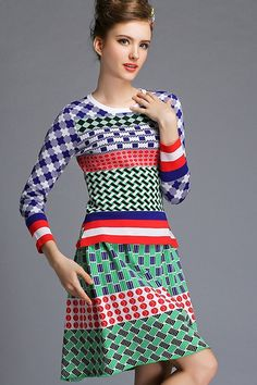 Multicolor Wool Long Sleeve Top With Sheath Knee Length Skirt