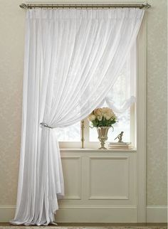 Splendor Batiste Pinch Pleated Drapes are available in 2 colors to choose from: White or Ivory. These semi-sheer batiste polyester drapes are available in many sizes. Drapes And Blinds, Drapery Panels, Panel Curtains, Pinch Pleat Curtains, Pleated Curtains, Sheer Drapes, Window Scarf, Velvet Drapes, Custom Drapes