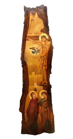Hand-painted Icon on Wood in Traditional Hand-carved por BYZANTINO