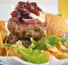 Recipe: Pork, Cranberry and Brie Burger Pork Recipes, Cooking Recipes, Great Recipes, Favorite Recipes, I Have Done, Brie, Burgers, Sandwiches, Meat