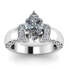 Marquise Cut Encrusted Diamond Engagement Ring