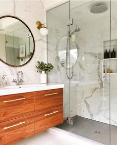 Gorgeous master suite of busy mom and doctor our Alto Sconce light fixture in solid brass. Eclectic Bathroom, Chic Bathrooms, Bathroom Interior Design, Bathroom Styling, Luxury Bathrooms, Master Bathrooms, Dream Bathrooms, Contemporary Bathrooms, Bathroom Renos