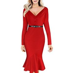 Inshine Women VNeck Sexy Fishtail Business Dresses BlackXXL >>> Read more reviews of the product by visiting the link on the image.
