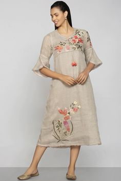 Shop Kaveri Linen Embroidered Dress , Exclusive Indian Designer Latest Collections Available at Aza Fashions Kurti Sleeves Design, Kurti Neck Designs, Kurta Designs Women, Kurti Designs Party Wear, Blouse Designs, Linen Dress Pattern, Dress Patterns, Clothes Patterns, Kurti Embroidery Design
