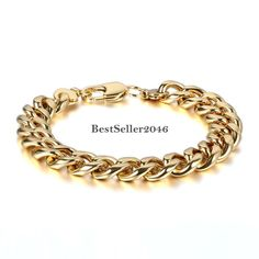 11 mm Edelstahl Armband Armkette Gold Panzerarmband 20 cm Herren Damen Schmuck