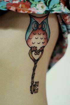 Tiny Owl and Key Tattoo