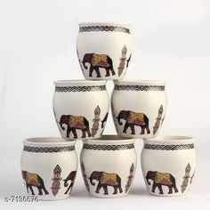 Cups, Mugs & Saucers Kullad, Set of 6 Material: Ceramic Pack: Multipack Length: 4 Inch Breadth: 4 Inch Height: 4 Inch Size (in ltrs): 250 ml Country of Origin: India Sizes Available: Free Size   Catalog Rating: ★4.3 (434)  Catalog Name: Fancy Cups Mugs & Saucers CatalogID_1139386 C190-SC2066 Code: 884-7136676-999