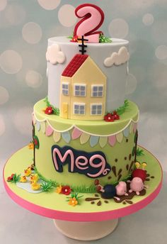 Peppa pig and George cake with muddy puddle and house, bunting and fluffy clouds Peppa Pig Birthday Cake, 3rd Birthday, Birthday Ideas, Birthday Parties, Peppa Pig Muddy Puddles, Peppa Pig House, House Cake, Cupcake Cookies, Sugar Cookies