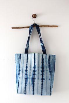 Indigo Tote bag handmade, shibori hand dyed shoulder bag, Blue shopping bag, casual tote. Beach tote bag, blue tote, school bag, large tote