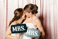 23 Super Cute Lesbian Wedding Ideas: Make sure you let everyone know you're Mrs and Mrs on the big day too. Lgbt Wedding, Trendy Wedding, Wedding Pictures, Dream Wedding, Lesbian Wedding Photos, Wedding Vintage, Wedding Gowns, Catholic Wedding, Wedding Rustic