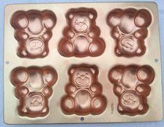 Wilton Teddy Bear Mini Cake Pan ~ 6 Cavity 2004 #2105-4948 Copper Color Bakeware #Wilton