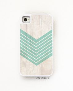 iPhone 4 Case. iPhone 4S Case. Silicone Lined Tough Case Wood Geometric Teal