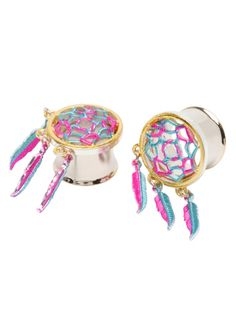 A pair of 316L surgical steel gold tone plugs with pink and teal dreamcatcher designs.