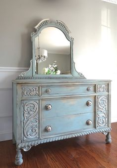 Antique Ornately Carved Jacobean Hand Painted Antique Grey Long Dresser with Mirror