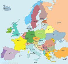 Europakarte: Hauptstädte