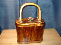 Lucite Purse with Mother Of Pearl Finish