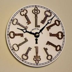 Clock with old keys- Reloj con llaves viejas Another option to reuse them - Key Crafts, Diy Home Crafts, Diy Home Decor, Diy Clock, Clock Wall, Clock Craft, Clock Ideas, Old Keys, Wood Clocks