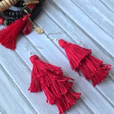 Luxe Red Tassel Earrings with Sterling Silver Ear Wires. Give your ears some TLC with these gorgeous lightweight earrings. CactusBluesBoutique