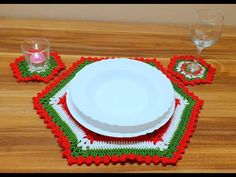 Vianočné prestieranie pod taniere a poháre, Christmas mat table - YouTube Coasters, Crochet, Youtube, Crochet Christmas Trees, Crochet Flowers, Crochet Granny, Coaster, Ganchillo, Crocheting