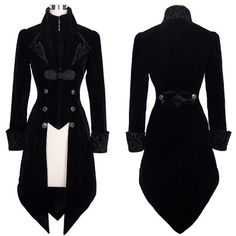 Women Black Velvet Double Breasted Victorian Gothic Dress Trench Coat SKU-11401036