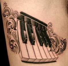 Lower Arm Classy Cool Piano Keys Tattoo Bright Piano Keyboard Tattoos Back To Piano Keyboard TattoosEmblematic Piano Keyboard Tattoos Heart Shaped Key Tattoos Little… Key Tattoo Designs, Tattoo Designs For Women, Tattoos For Women, Music Tattoos, Body Art Tattoos, Sleeve Tattoos, Piano Tattoos, Tatoos, Disney Key Tattoo