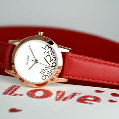 What Time? - Rose Gold on White Watch w/ Red Leather