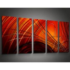 Metal Abstract Wall Art Decor - Ninja Red