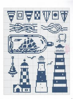 Cross stitch embroidery sea theme boat in a bottle seagull