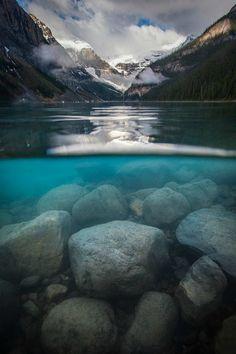 Split-View, Lake Louise, Alberta, Canada.