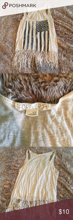Fringed patriotic tank Heather gray with black/gray flag Forever 21 Tops Crop Tops