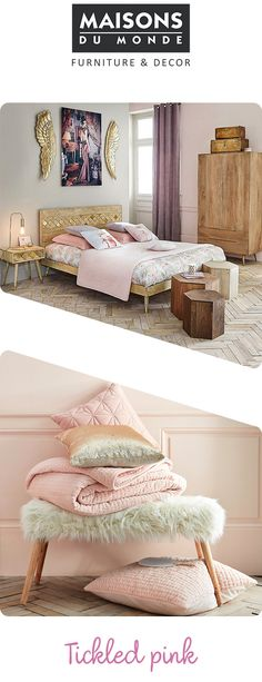 Faux fur, raw wood, luxe gold accents and a soft pastel pink palette, the Boudoir trend from Maisons Du Monde is pure perfection.