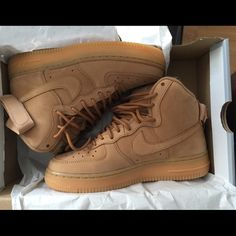 7116ab5d51be Nike Air Forces WHEAT Wheat Hightop Air Forces