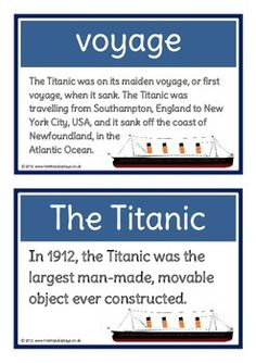 A set of 28 printable fact cards that give key and interesting facts about the Titanic and its voyage. Each fact card has a key word header, making this set a fantastic word/ vocabulary bank along with information in abundance! Visit our TpT store for more information and for other classroom display resources by clicking on the provided links.